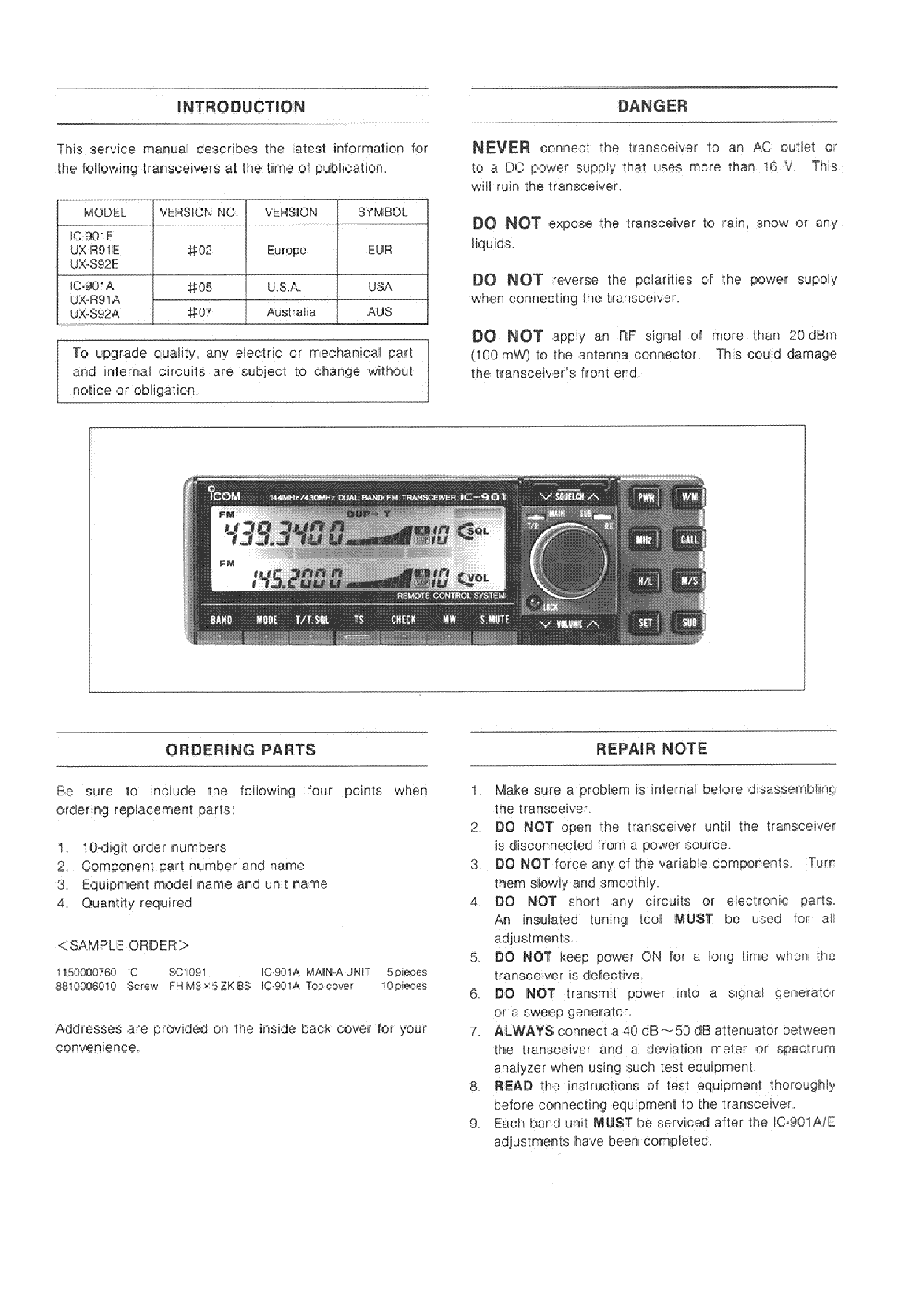 ICOM IC-901A, 901E SERVICE MANAUL Service Manual download