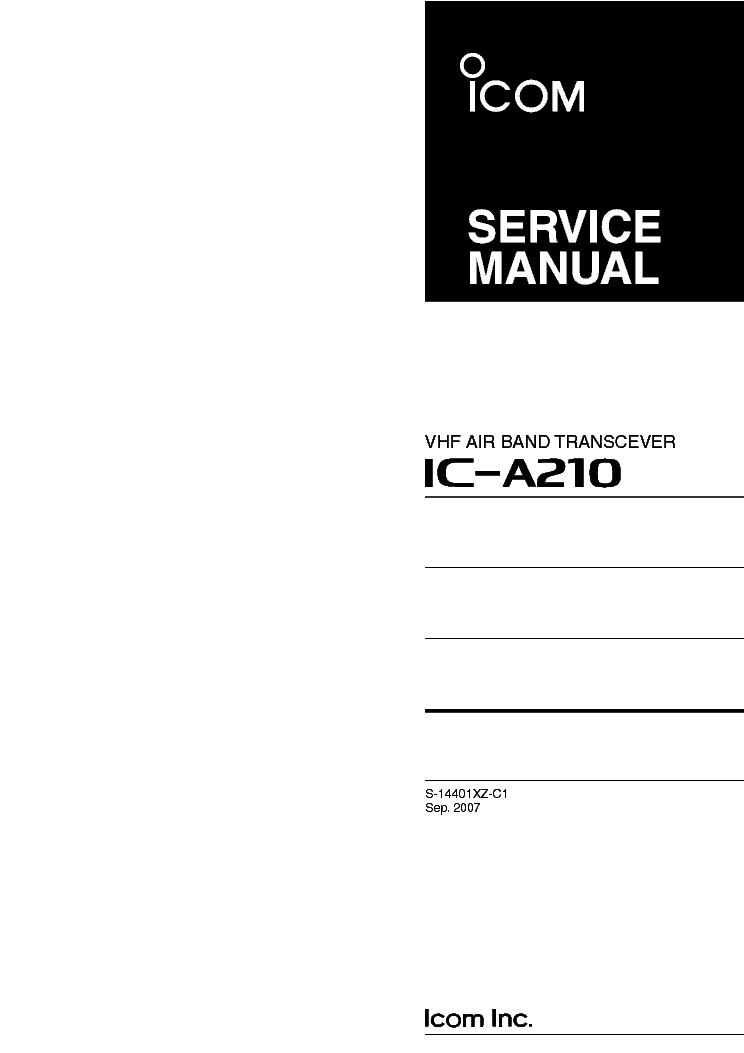 297400 vhf air band transceiver user manual ic-a210 instruction.