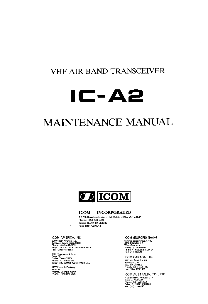 Icom Ic u82 Service Manual