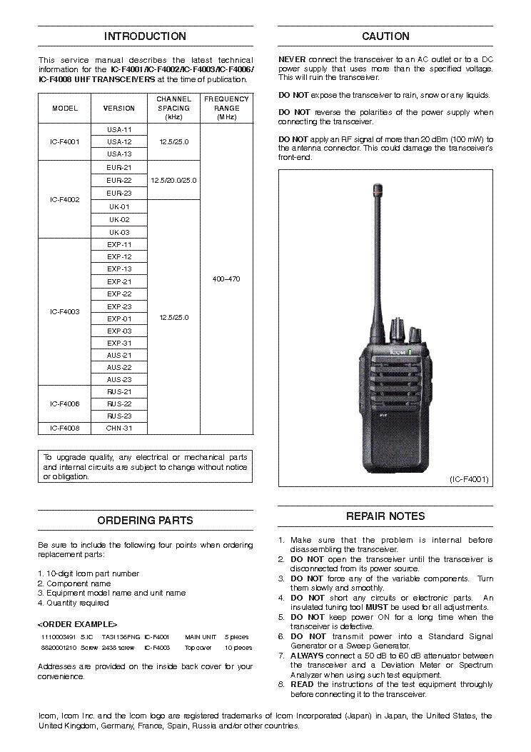 ICOM IC-F4001 F4002 F4003 4F006 F4008 SM Service Manual