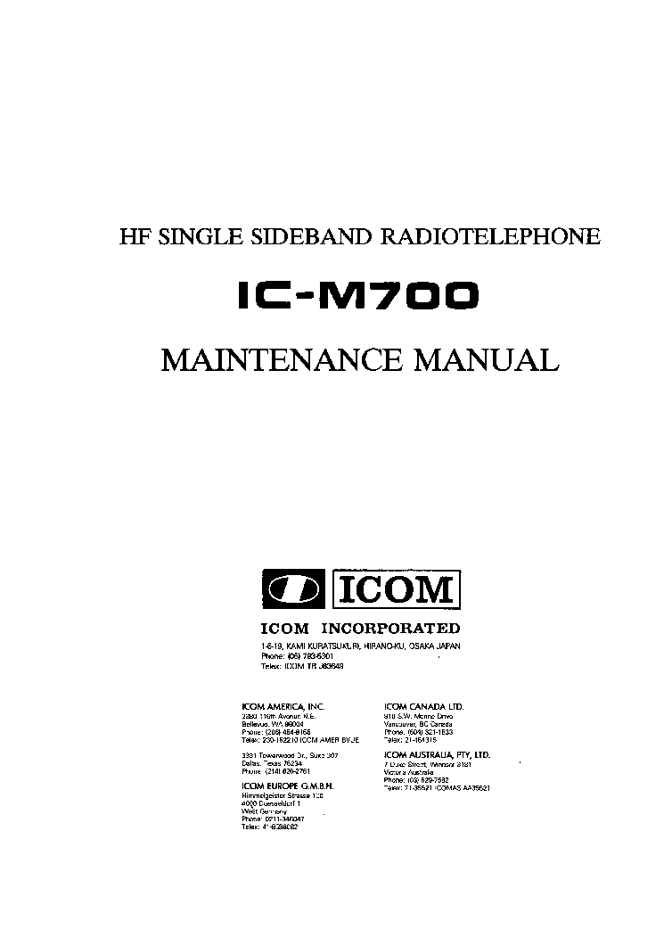 ICOM IC-M700 SM service manual (1st page)