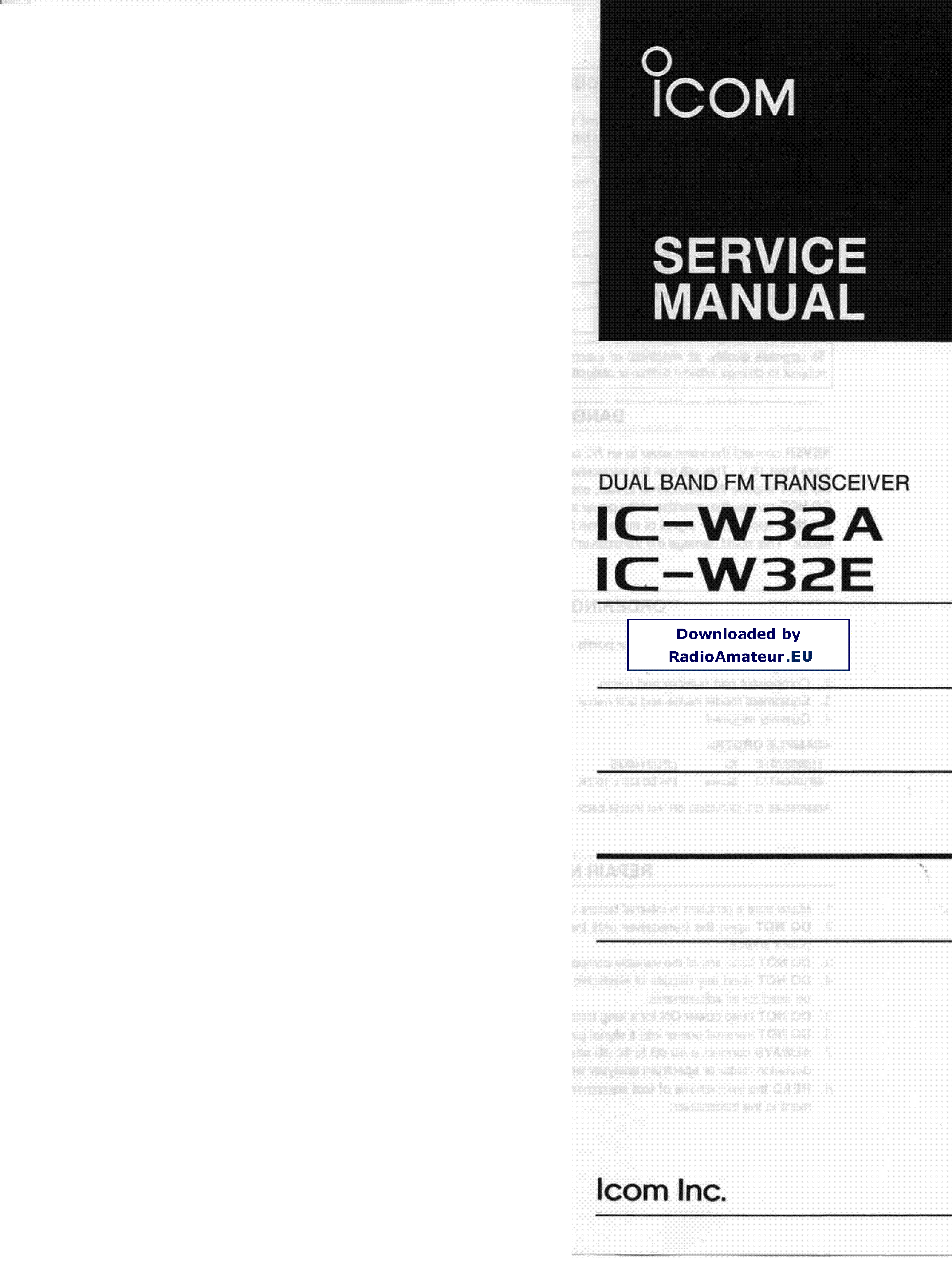 ICOM IC-W32 service manual (1st page)