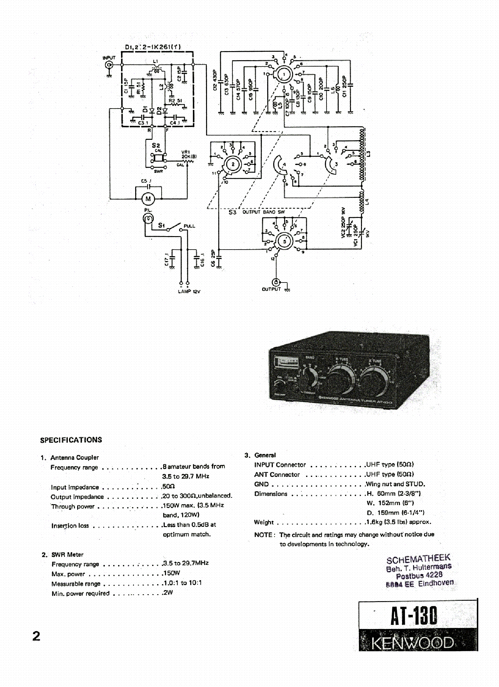 KENWOOD AT-130 service manual (1st page)
