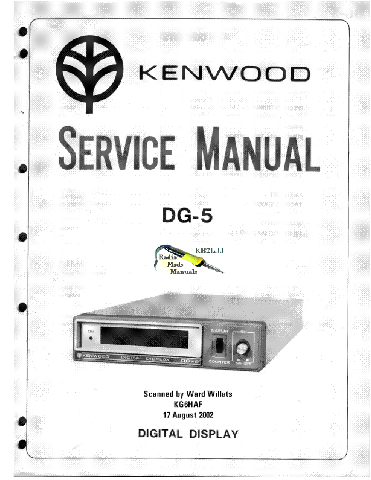KENWOOD DG-5 SM Service Manual download, schematics, eeprom, repair