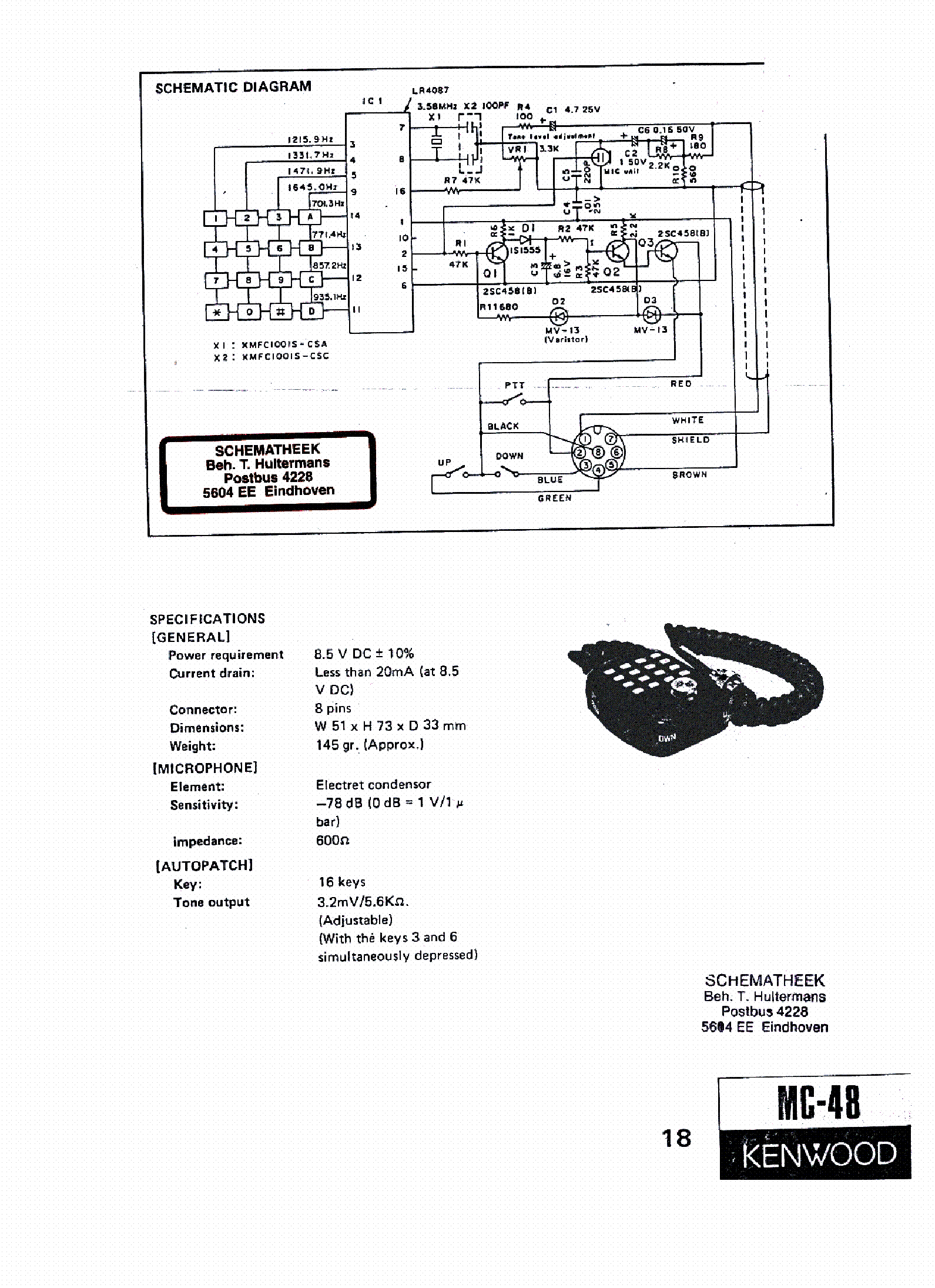 Wiring Diagram Kenwood Mc 59 Microphone 39 Images Kmc 35 Mic Eeprom 48 Schpdf 1 Sch Service Manual Download Schematics