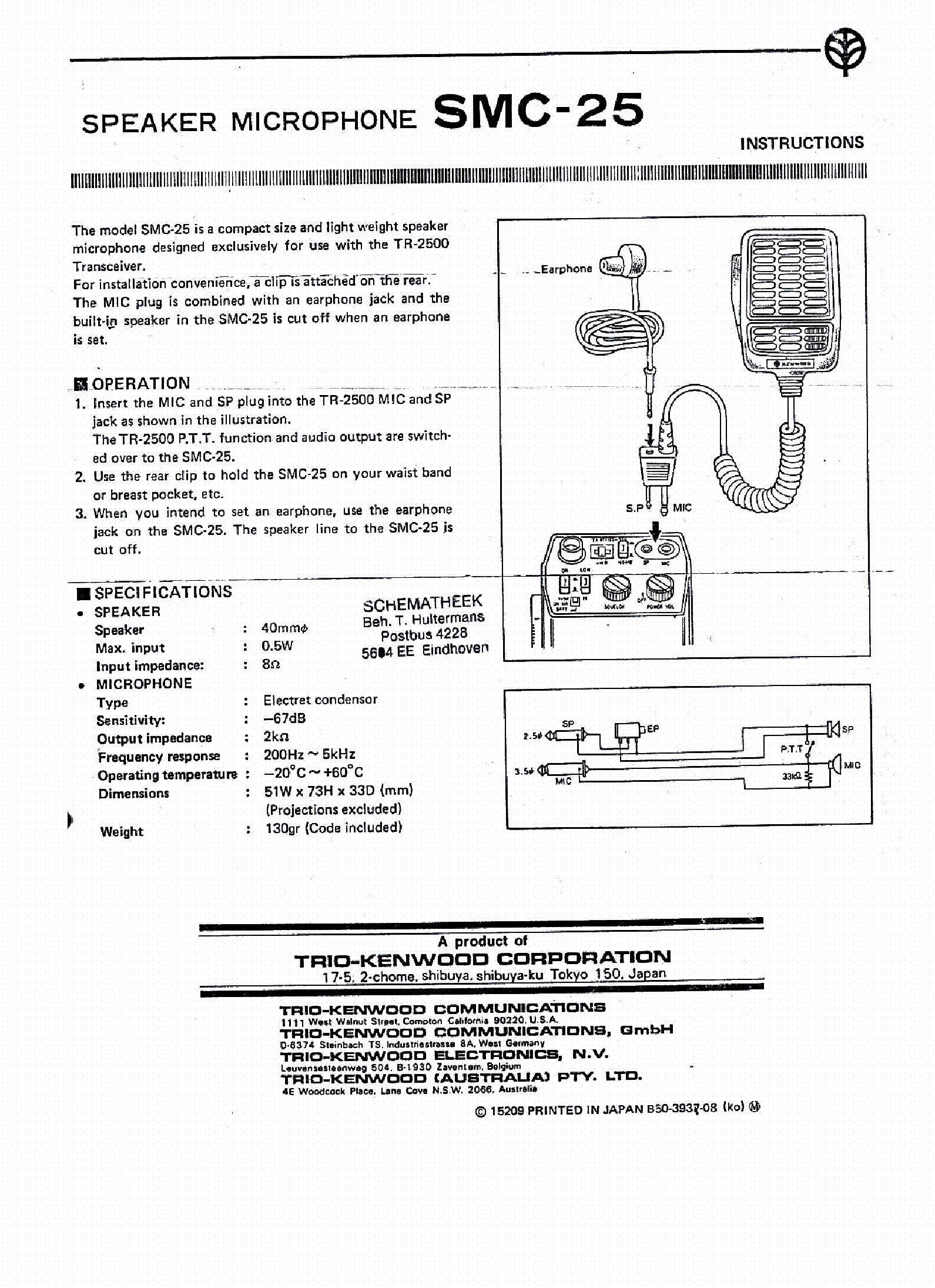 KENWOOD SMC-25 SCH service manual (1st page)
