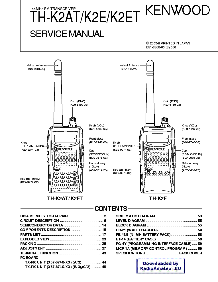 KENWOOD TH-K2 service manual (1st page)