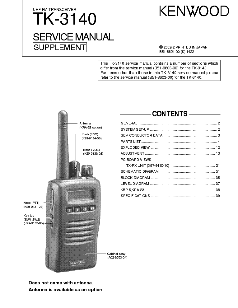 kenwood tk 7302 service manual