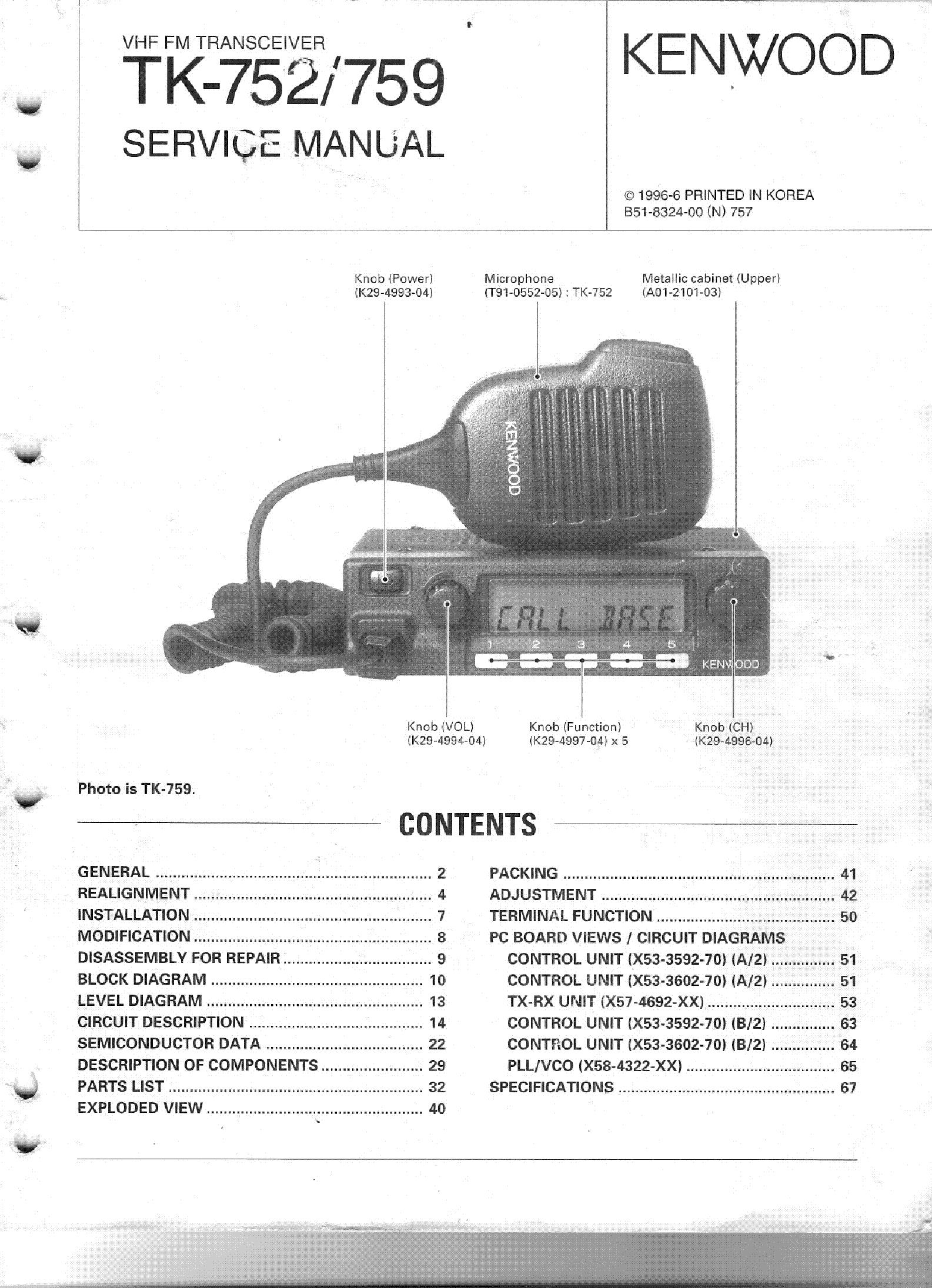 KENWOOD TK-752 TK-759 service manual (1st page)