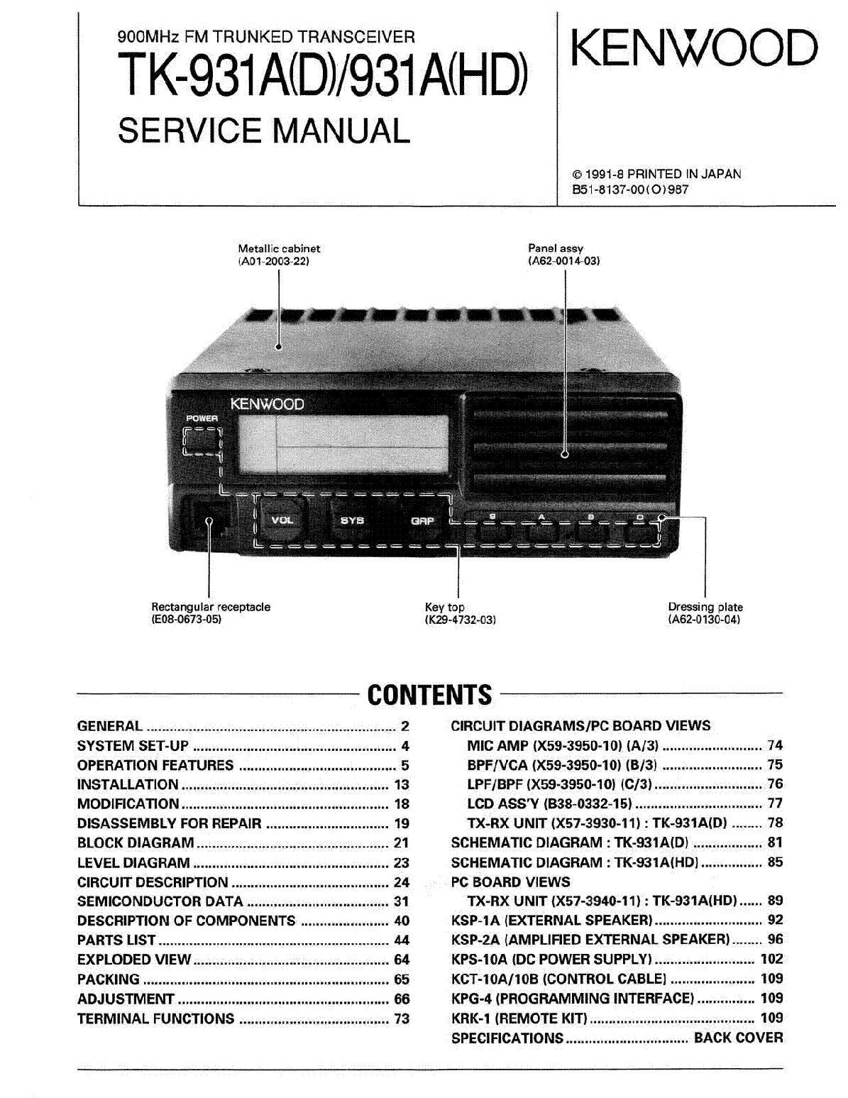 kenwood tk 931a d hd sm service manual download schematics eeprom rh elektrotanya com Kenwood TK-7180 School Radio Kenwood TK-7180 School Radio