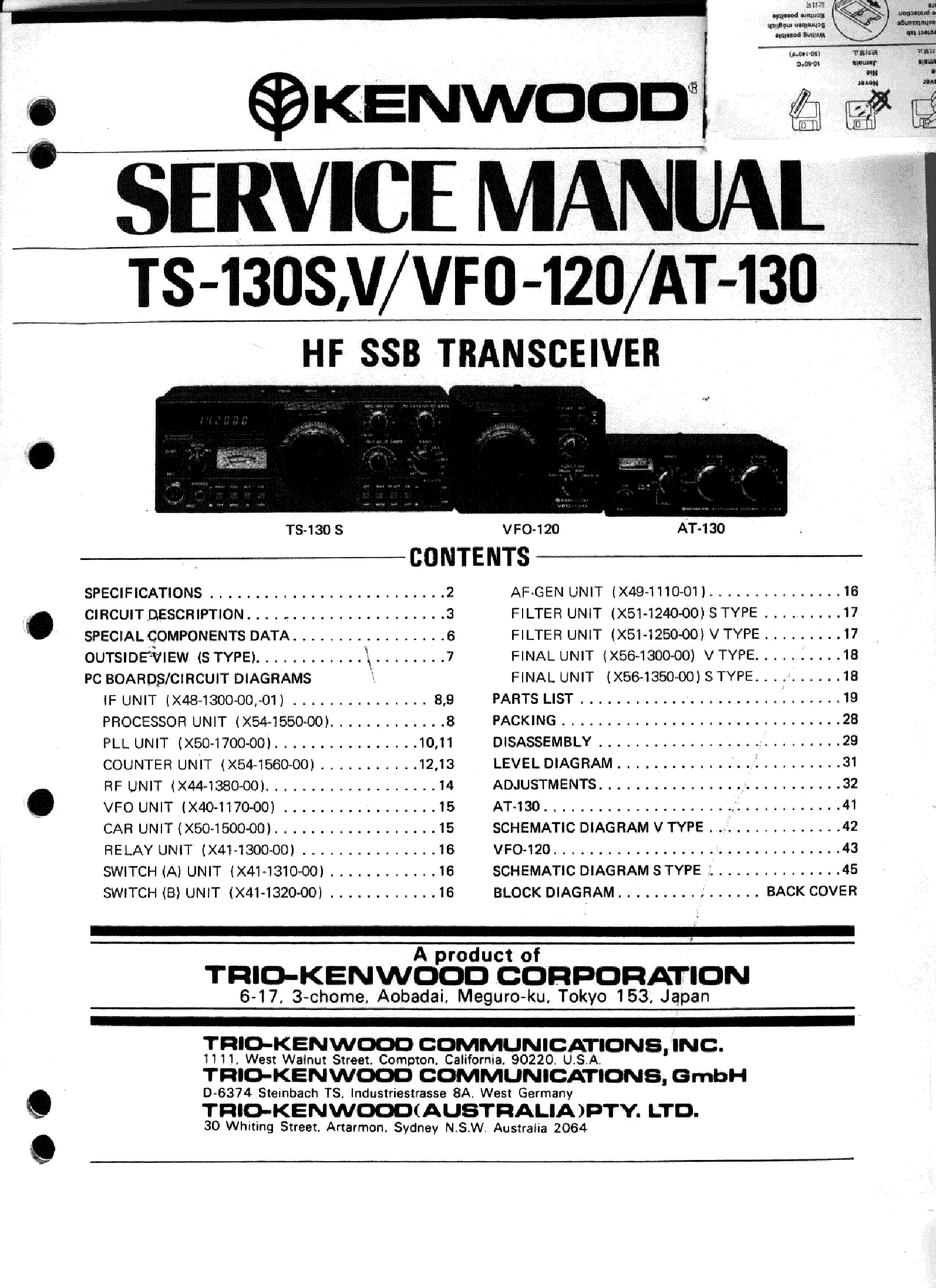 KENWOOD TS-130S-V VFO-120 AT-130 SM service manual (