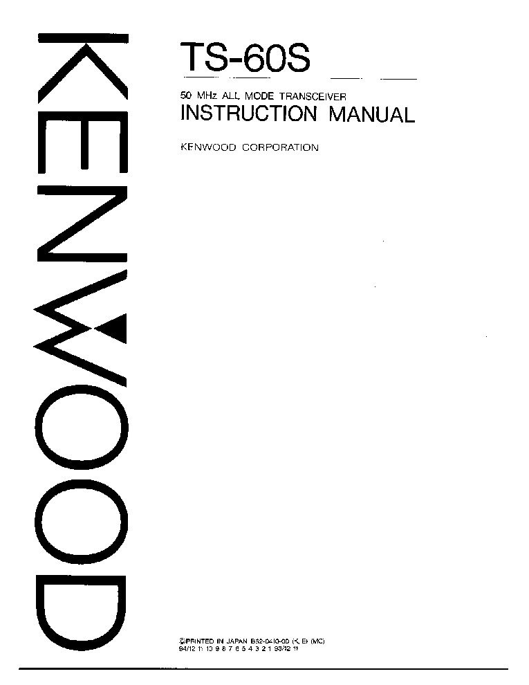 KENWOOD TS-60S SM Service Manual download, schematics, eeprom ...