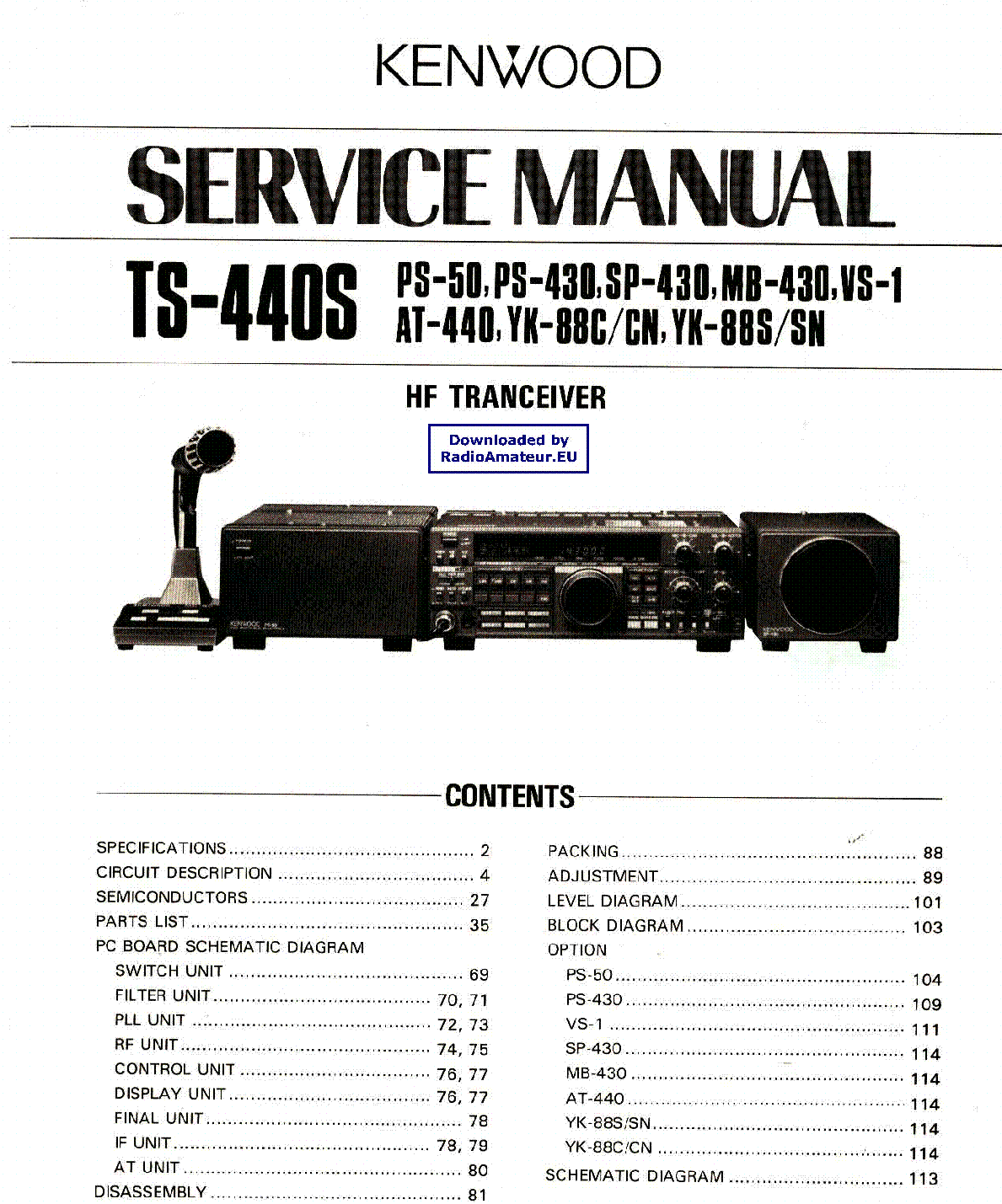 KENWOOD TS440S service manual