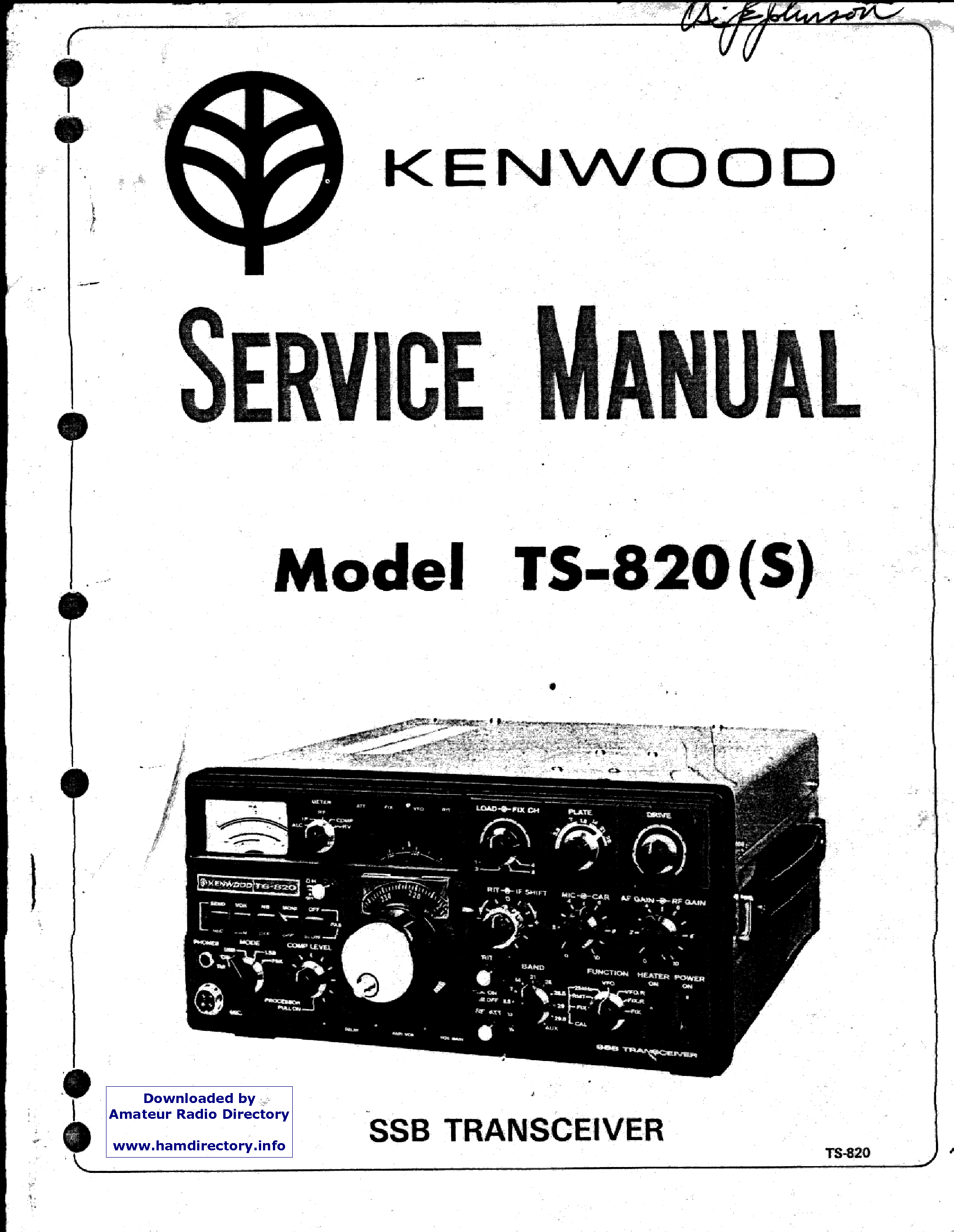KENWOOD TS820S service manual (1st page)