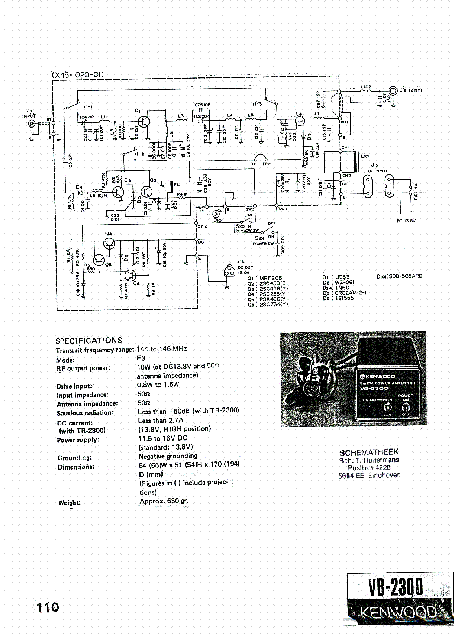 KENWOOD VB-2300 SCH service manual (1st page)