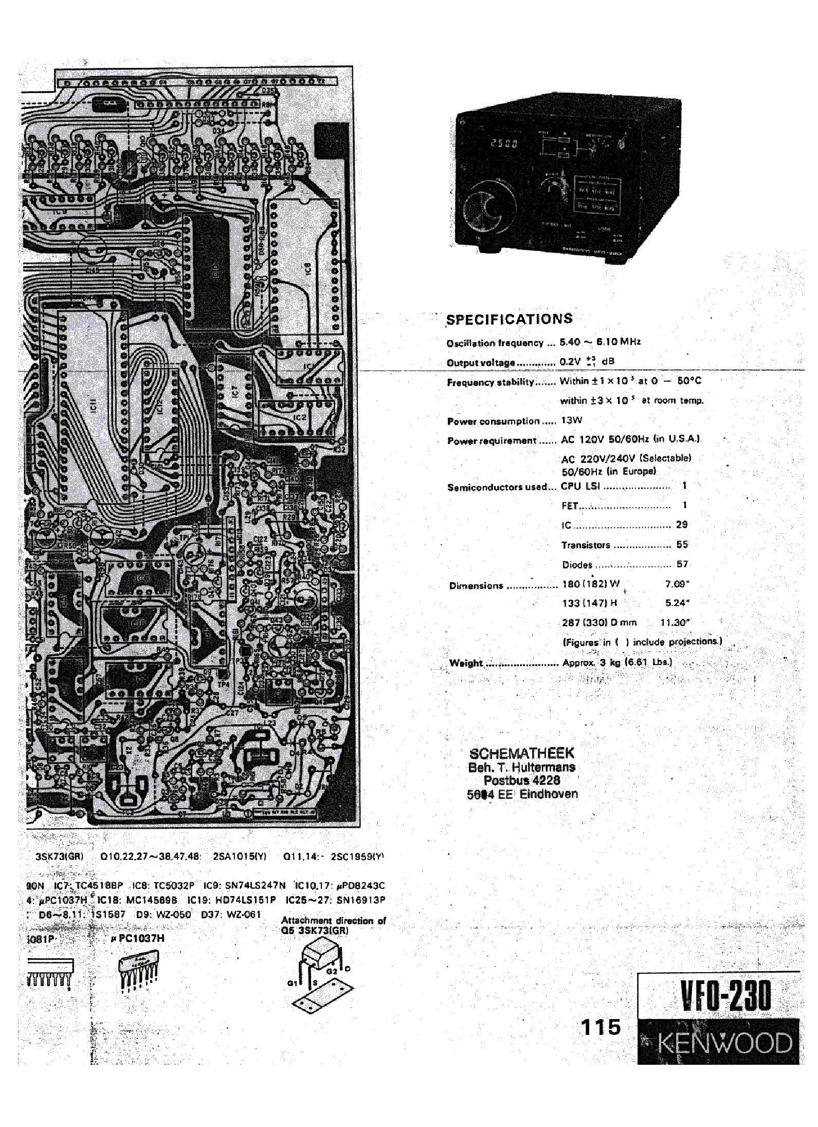 KENWOOD VFO-230 SCH service manual (1st page)