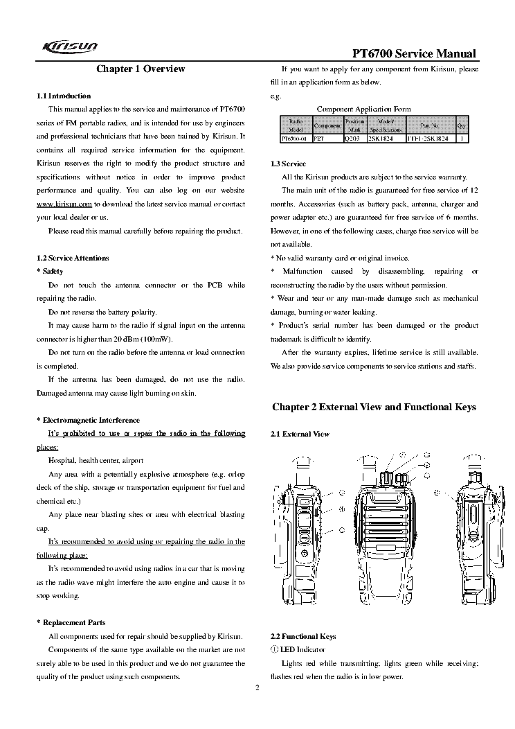 KIRISUN PT6700 SM Service Manual download, schematics, eeprom