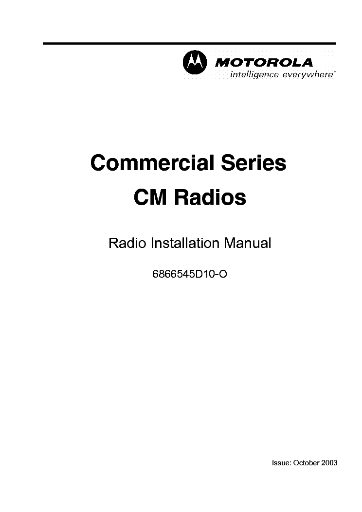 MOTOROLA HT90-MS HANDI TALKIE PORTABLE RADIOS Service Manual