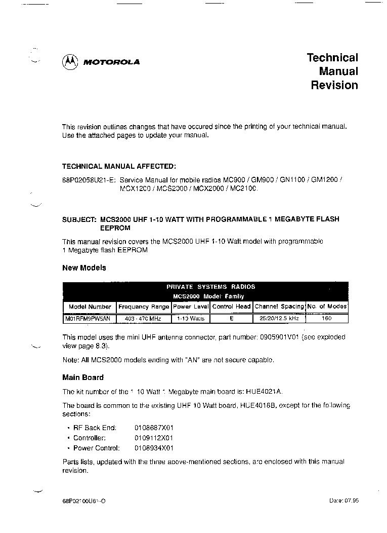 MOTOROLA GM-900 SM service manual (1st page)