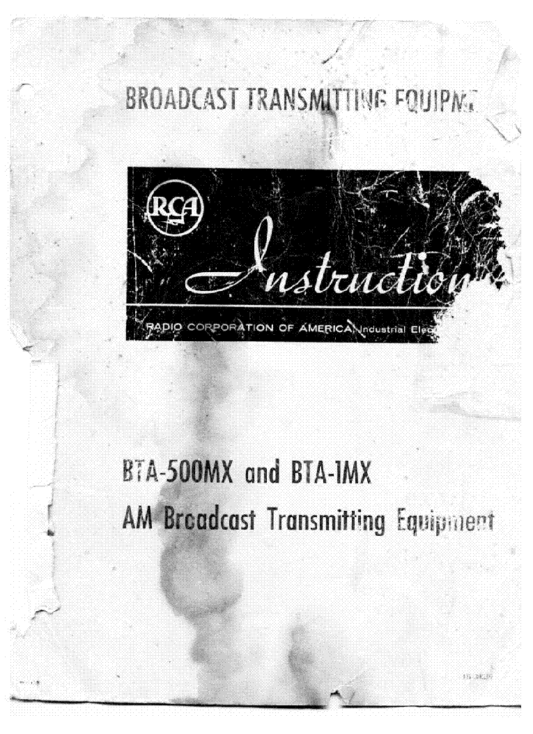RCA BTA-1MX AND THE BTA-500MX AM TRANSMITTERS service manual (1st page)