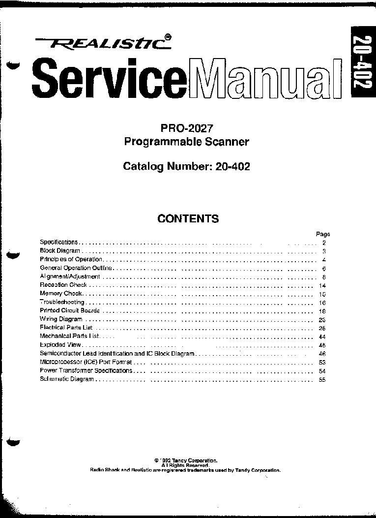 realistic pro 2027 radio scanner service manual download schematics rh elektrotanya com realistic pro 50 scanner manual realistic pro-2024 scanner manual