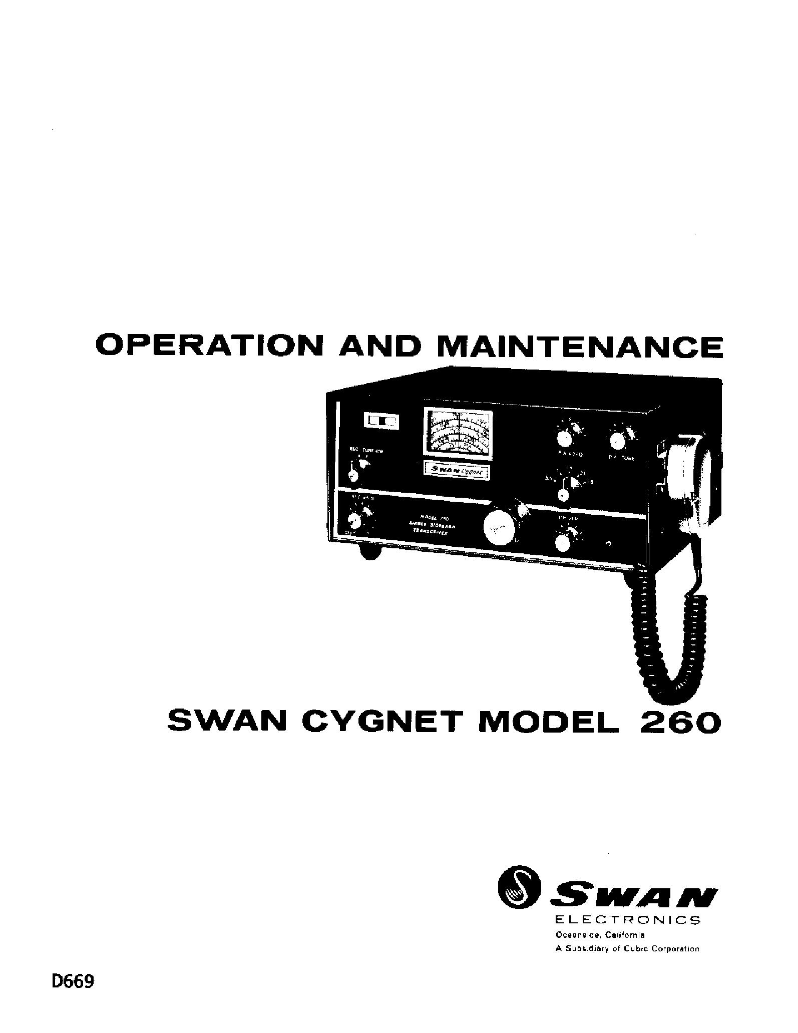 Swan Cygnet 260 Service Manual Download  Schematics