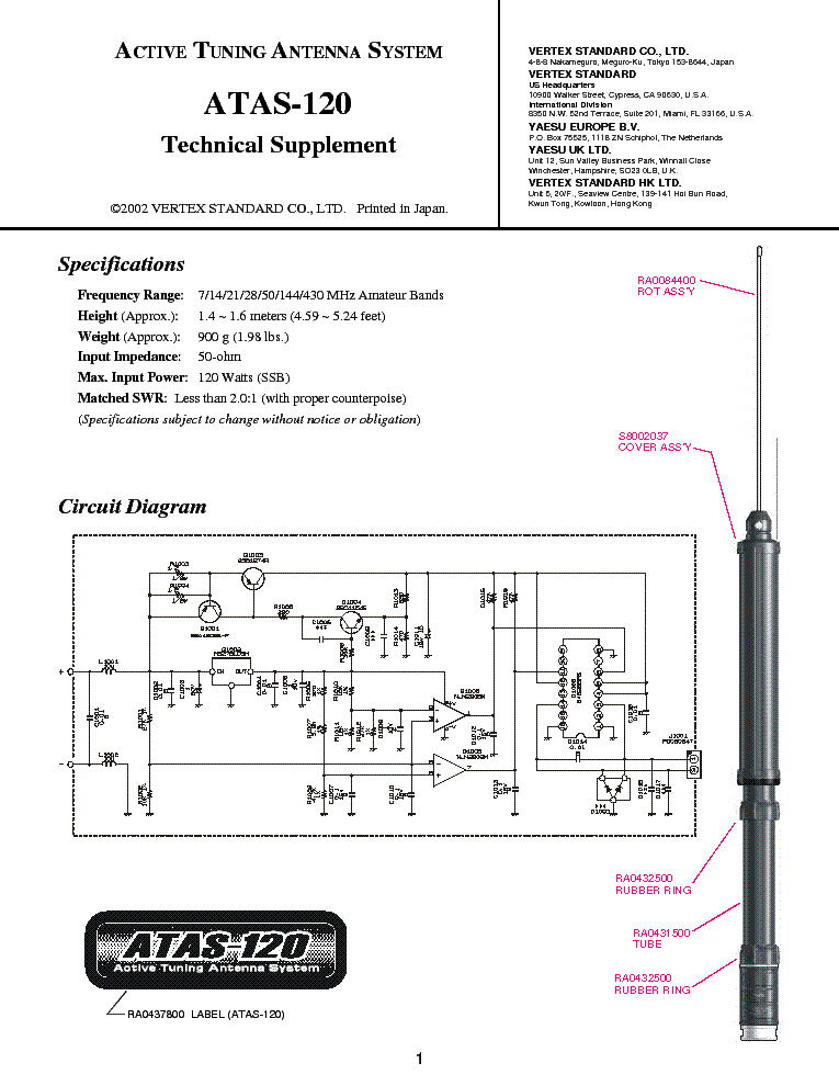 YAESU ATAS-120 TECH-SUPPLEMENT service manual