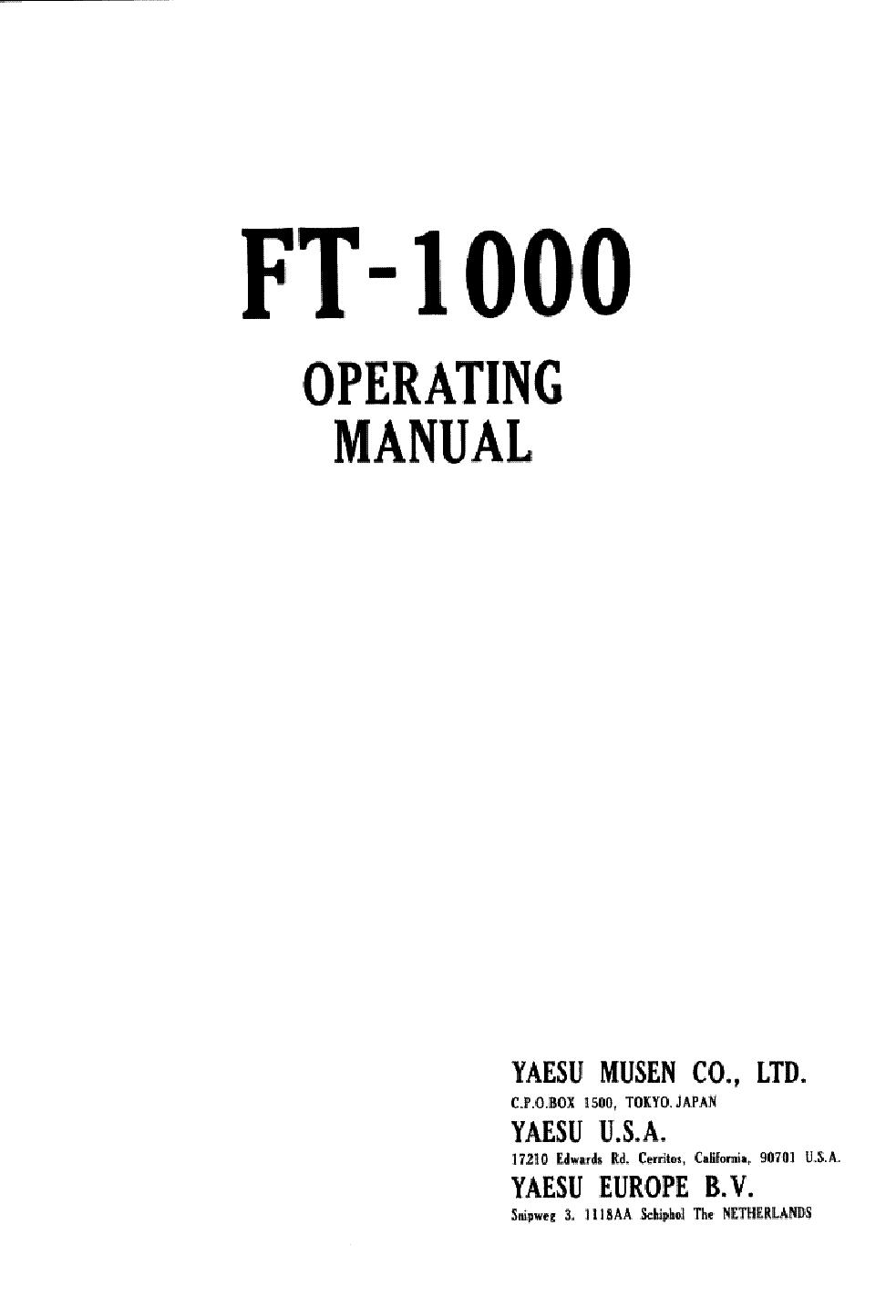YAESU FT-1000 service manual (1st page)