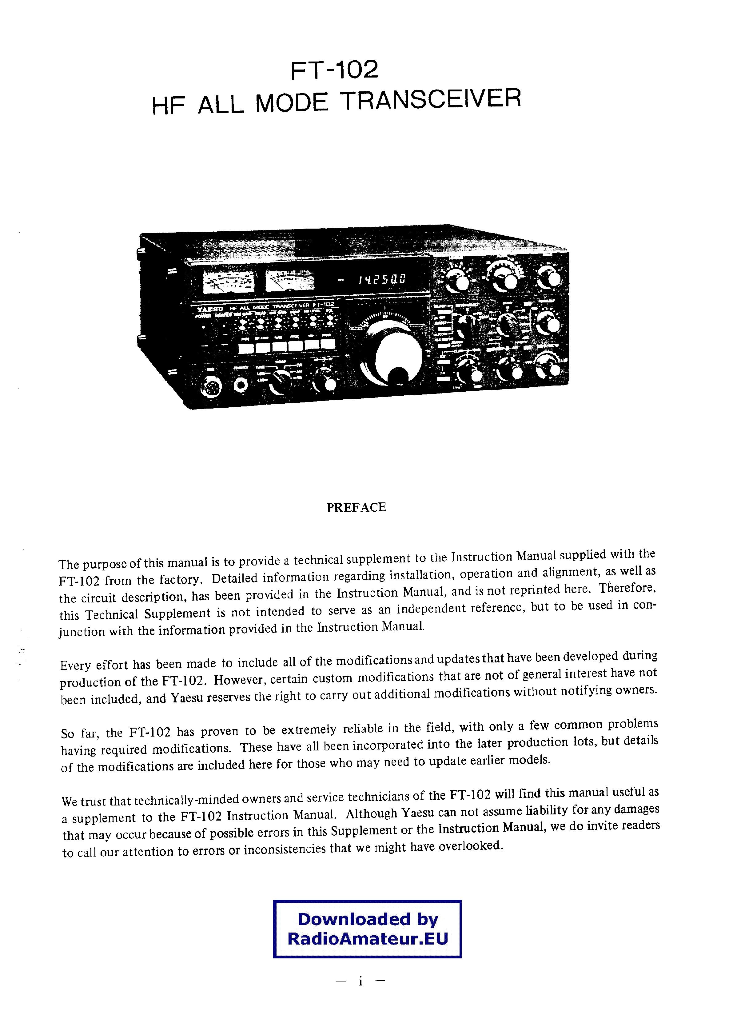 YAESU FT-102 SM 2 service manual (1st page)