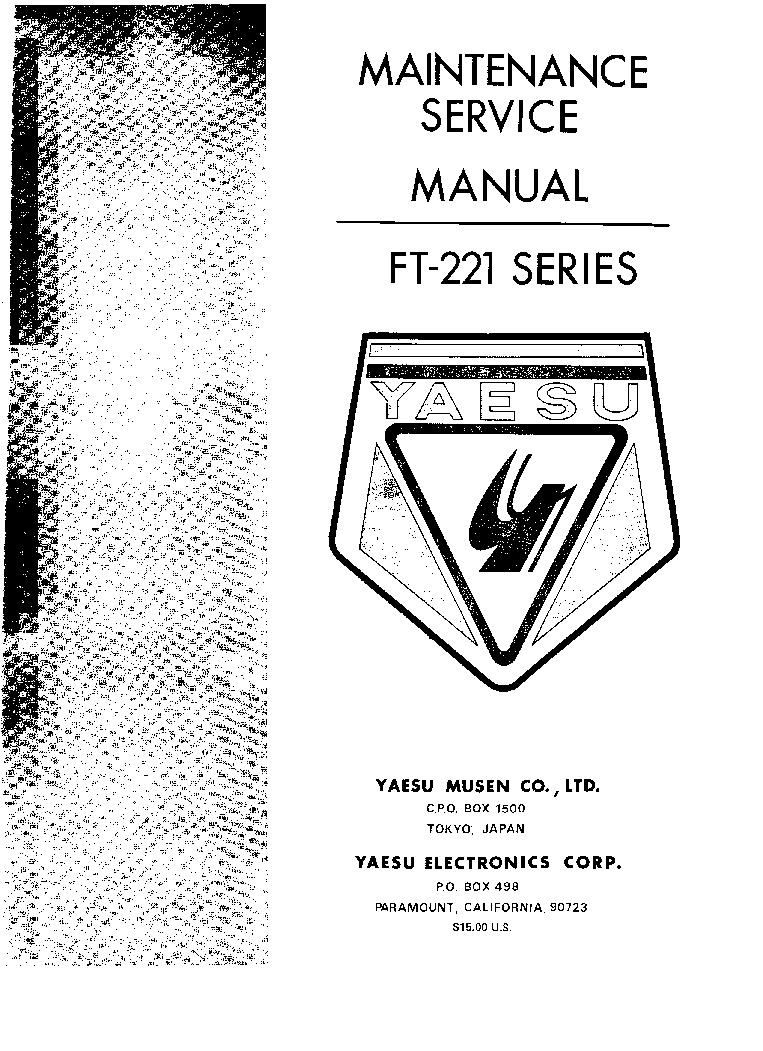 YAESU FT-221 service manual (1st page)
