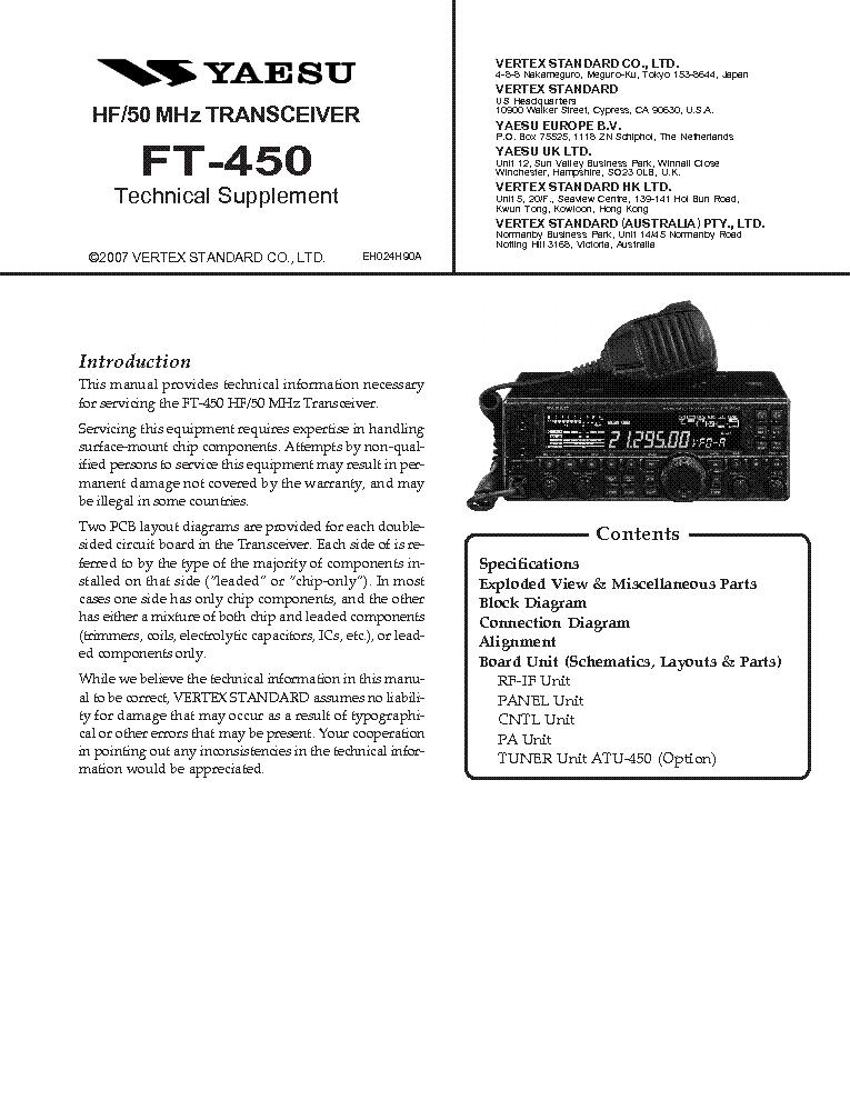 YAESU FT-450 SM Service Manual download, schematics, eeprom ... on