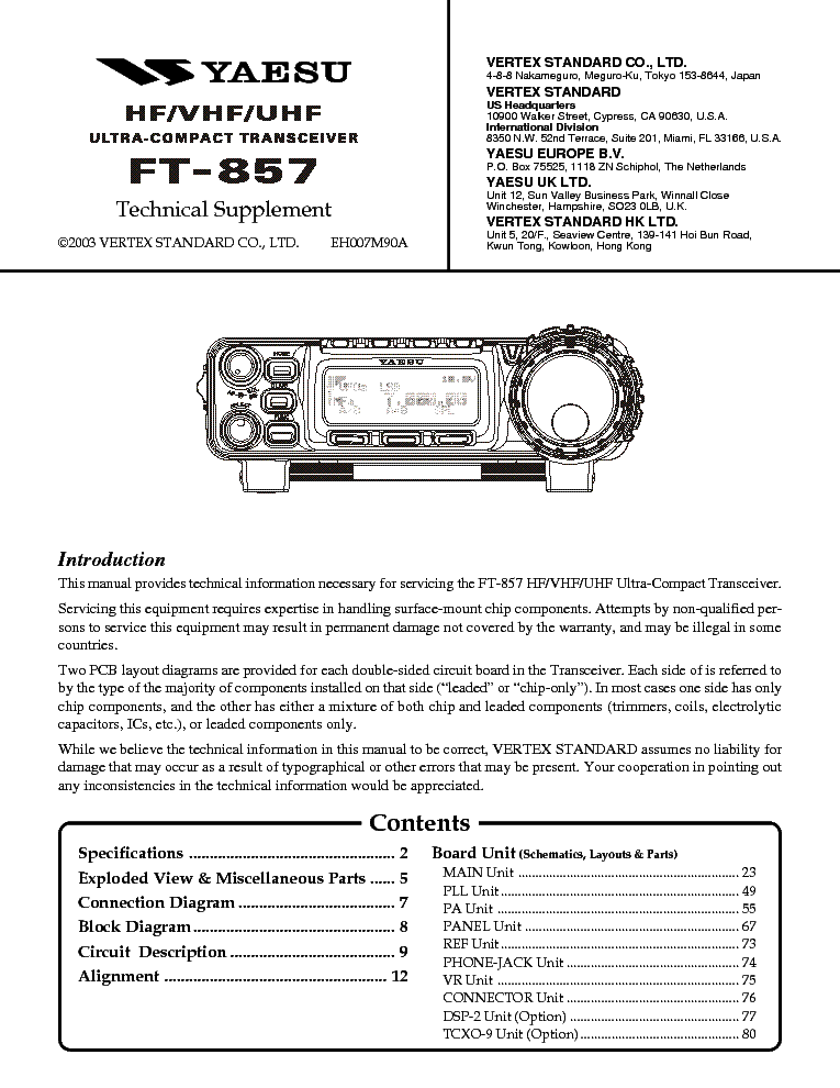 service manual for yaesu ft 7