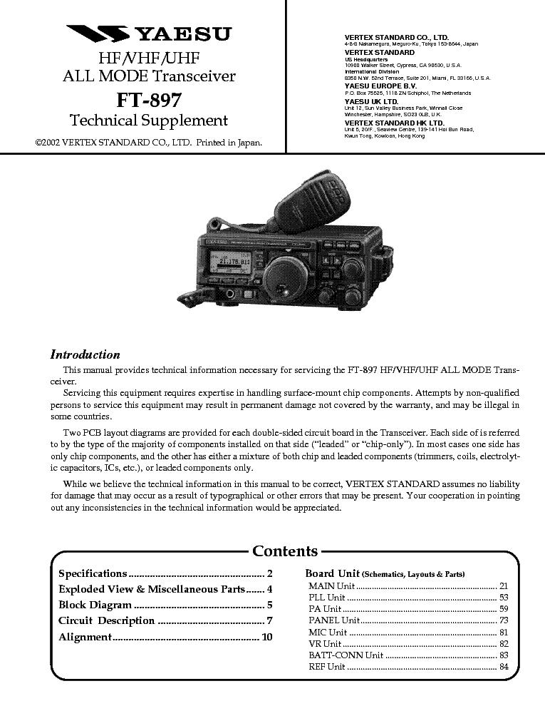 yaesu ft 897 service manual download schematics eeprom repair rh elektrotanya com FT -897D Manual Yaesu FT 847 Problems