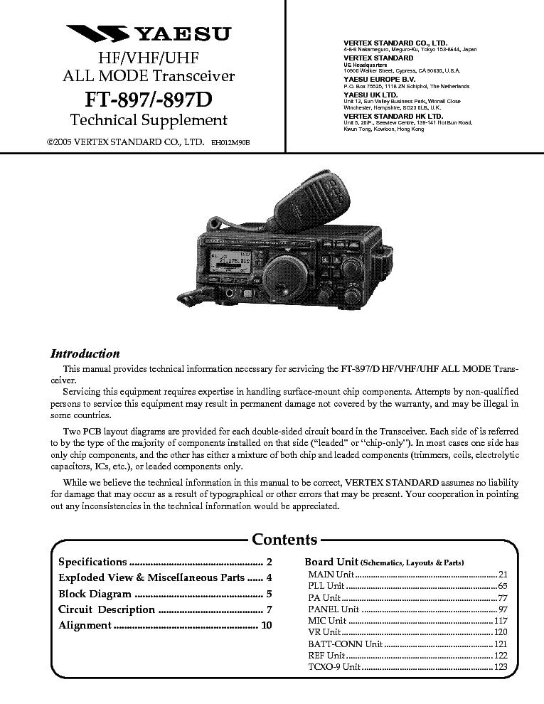 yaesu ft 897 897d technical supplement service manual download rh elektrotanya com Yaesu FT- 847 RigPix Yaesu FT 897