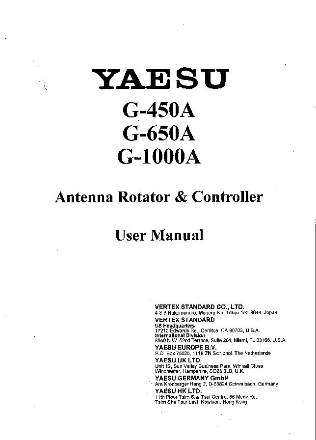 Yaesu G450a G650a G1000a Sm Service Manual Download