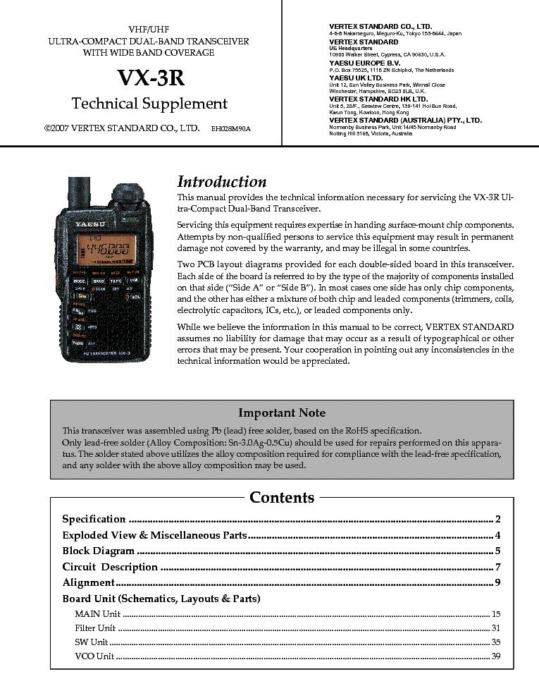YAESU VX-3R Service Manual download, schematics, eeprom, repair info ...