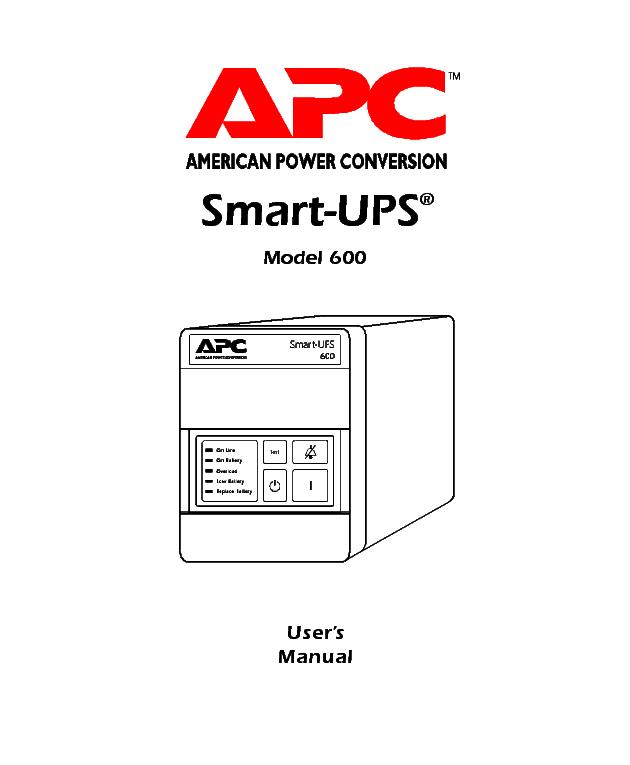 APC SMART-UPS MODEL-600 INFO NO-SCH Service Manual download