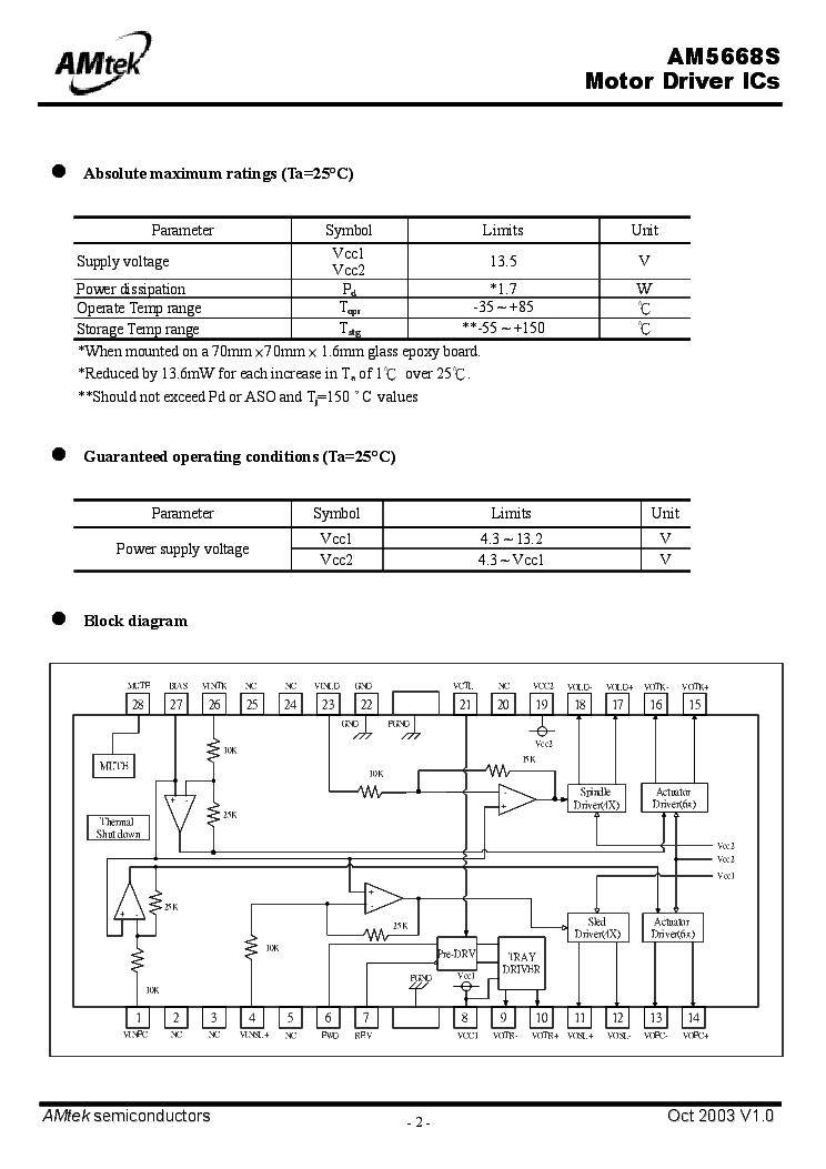 AMTEK AM5668S VOLTAGE REGULATOR SMD IC DATASHEET Service Manual