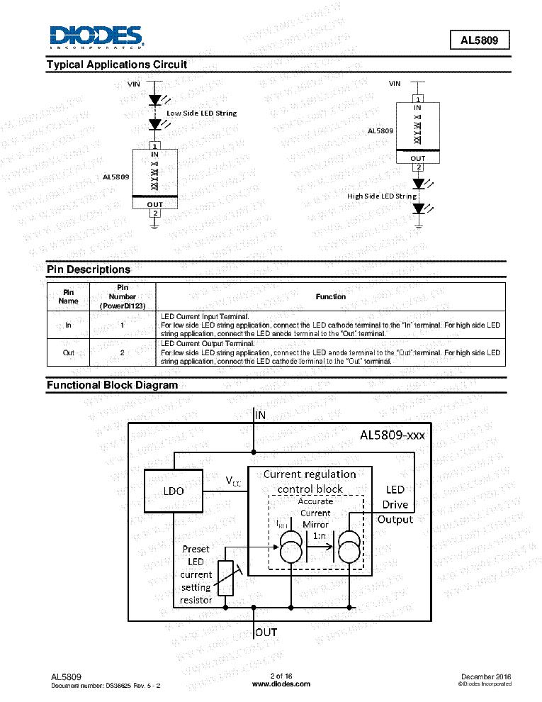AL5809 C1-C2--D5 MARKED 2,5-60V,15-150MA 2-PIN SOD-123 CONSTANT-CURRENT LED-DRIVER DIODES-LTD service manual (2nd page)