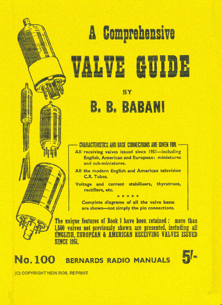 BABANI COMPREHENSIVE RADIO VALVE GUIDE1 1951 service manual (1st page)