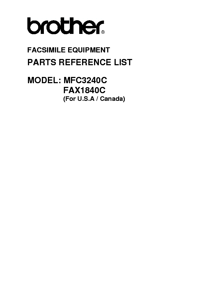 BROTHER FAX1840CZ MFC3240CZ PARTS service manual (1st page)