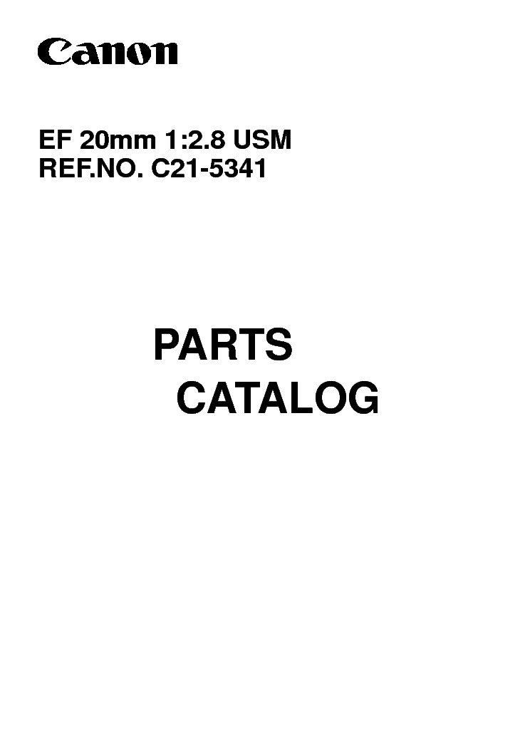 CANON CANON EF 20MM 1 2.8 USM PARTS CATALOG service manual (1st page)