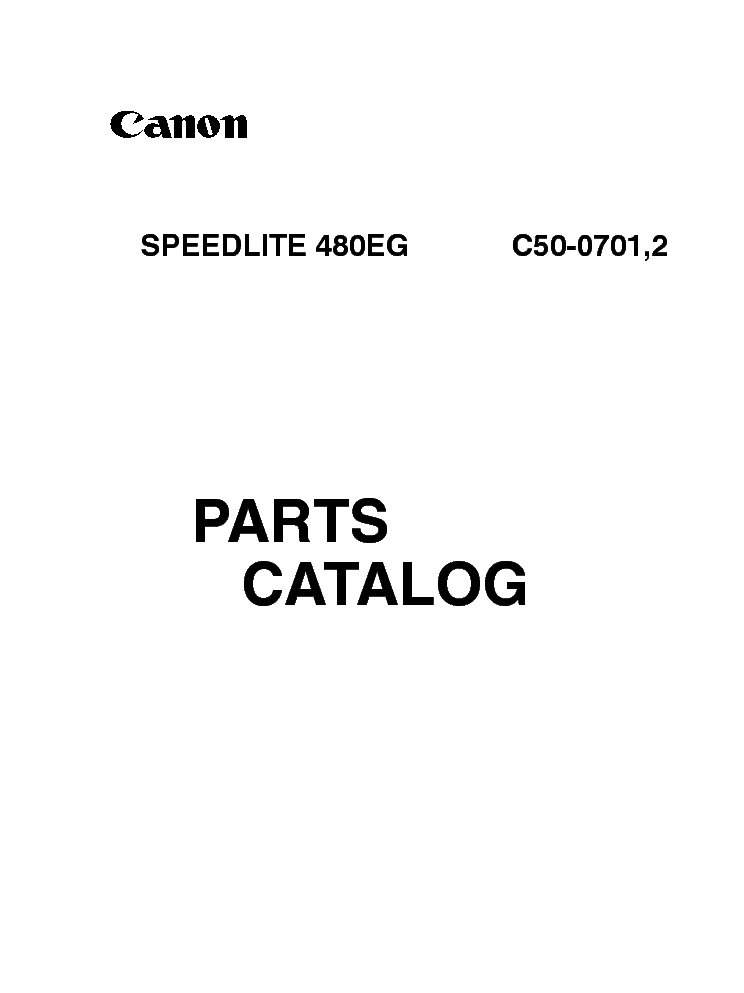 CANON CANON SPEEDLITE 480EG PARTS CATALOG service manual (1st page)