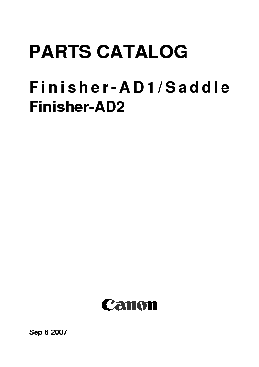 CANON FINISHER-AD1 SADDLE FINISHER-AD2-PARTS service manual (1st page)