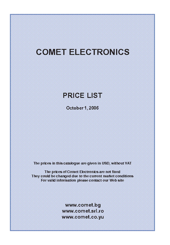 COMET CATALOG 2006 service manual (1st page)