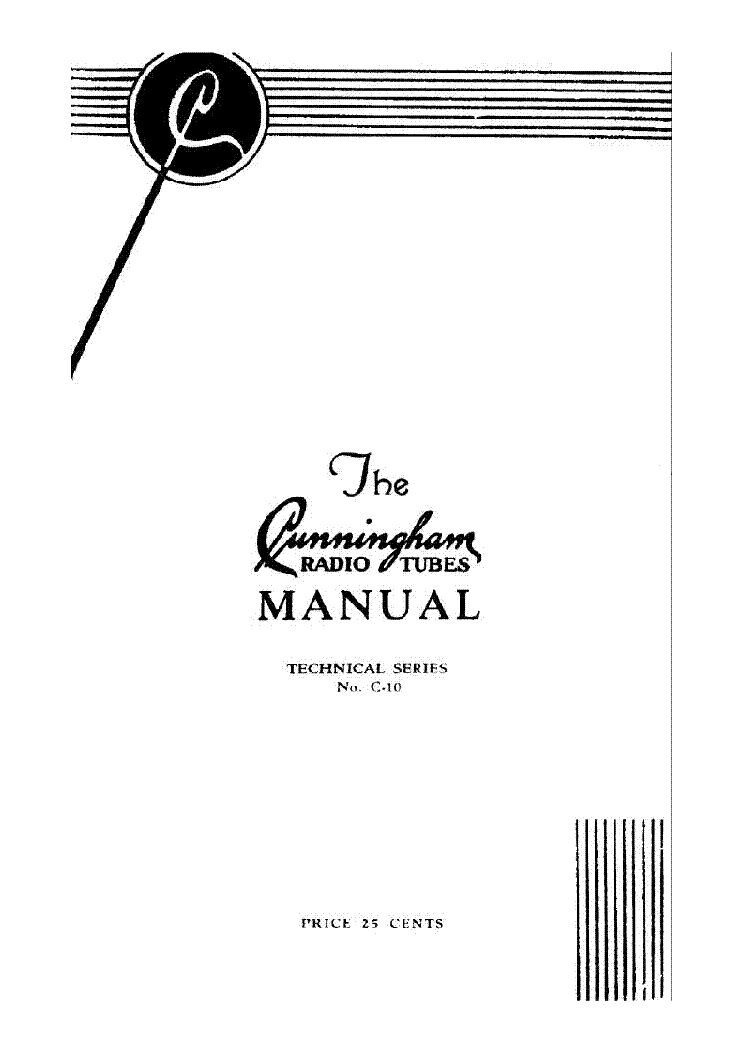 CUNNINGHAM RADIO TUBES MANUAL 1932 service manual (1st page)