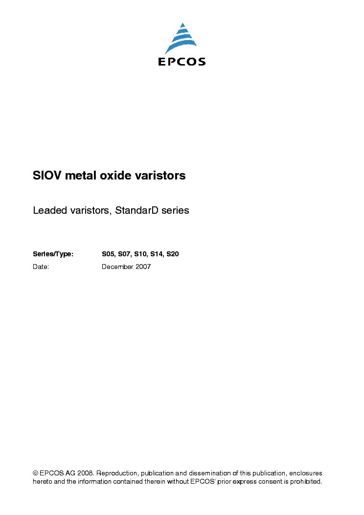 EPCOS SIOV METAL-OXID VARISTORS STANDARD-SERIES service manual (1st page)