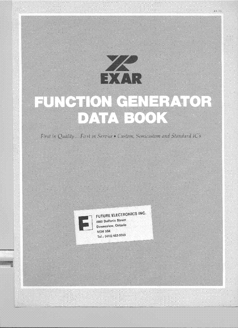 EXAR FUNCTION GENERATOR ICS DATABOOK 1978 service manual (1st page)