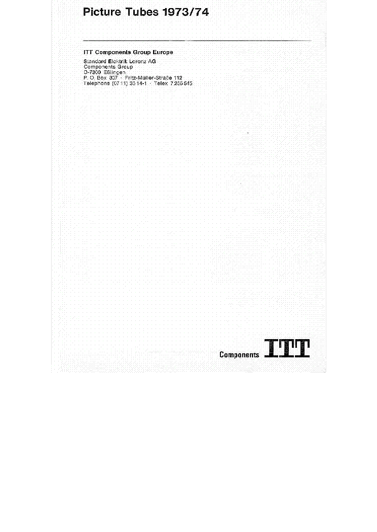 ITT TELEVISION PICTURE TUBES 1973-1974 CATALOG service manual (2nd page)