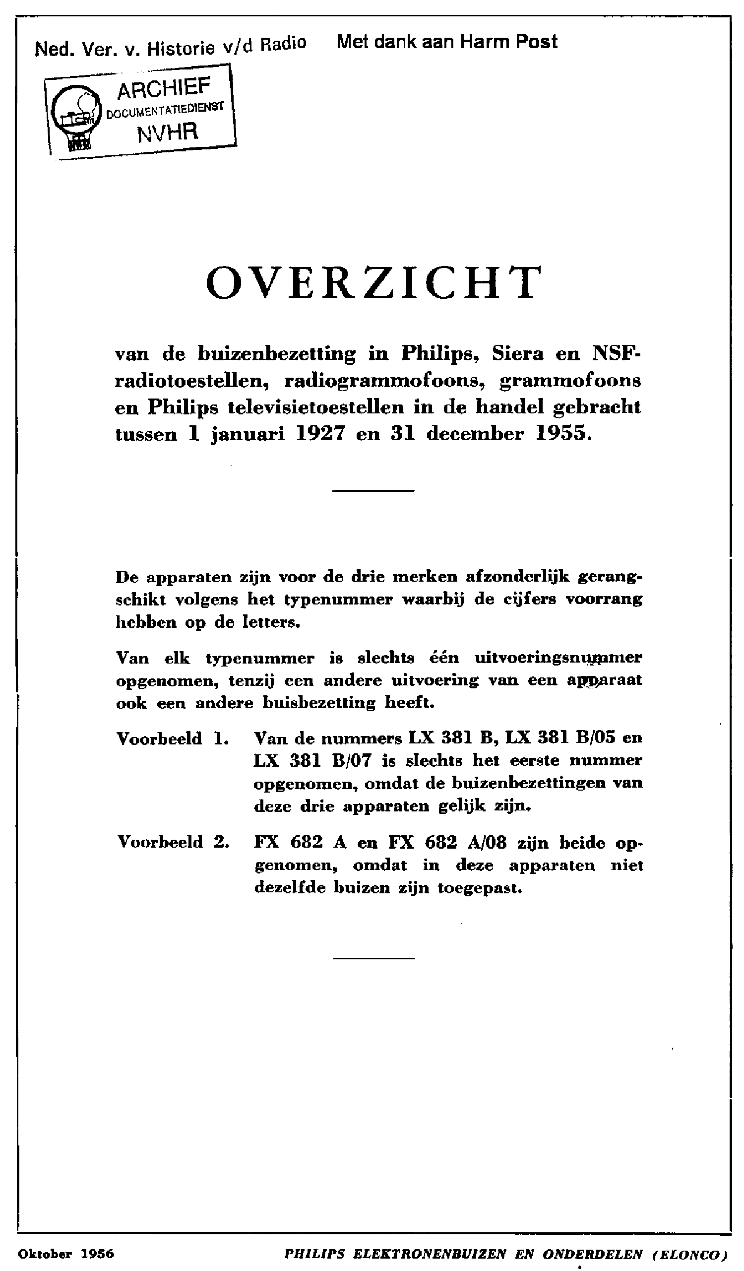 PHILIPS BUIZENBEZETTING 1927-1955 VALVES CATALOG service manual (1st page)
